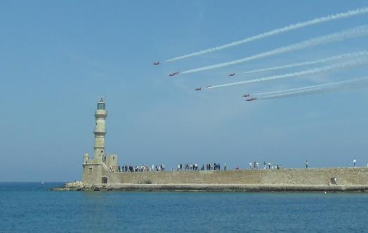 Red arrows Chania harbour